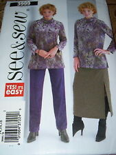 BUTTERICK #3999 - LADIES WINTER TUNIC & PULL ON PANTS & SKIRT PATTERN  14-18  FF