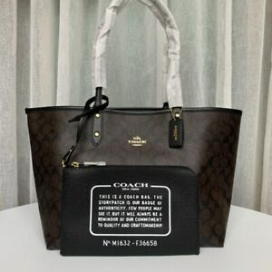 NEW Coach Signature Reversible PVC City Tote Coffe Black F36658