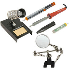 30w Soldering Iron Kit Stand Sponge Desolder Pump Solder Wire Magnifier