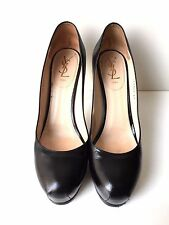 YSL YVES SAINT LAURENT BLACK LEATHER 'TRIBTOO' PUMPS, 41, $795