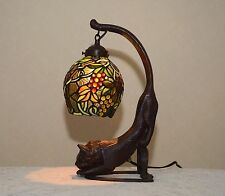 "18.5""H Cat/ Grape Vine Stained Glass Tiffany Style Table Desk Lamp Night Light !"