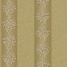 Chocolate & Gold Damask Stripe Wallpaper on Creams & Browns RL9548