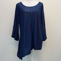 NY Collection Plus Size Womens Top Asymmetrical Hem 3/4 Bell Sleeve Blue 1X $49