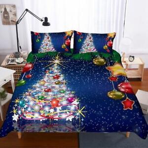 3D Christmas Tree Blue Bedding Set Duvet Cover Comforter Cover Pillow Case