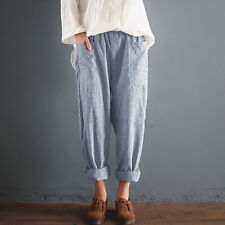 Plus Size Women Cotton Linen Elastic Waist Baggy Pants Trousers Striped Harem US