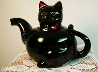 Vintage 1950's Shafford Halloween Black Cat w bow Teapot Japan Red ware tea pot