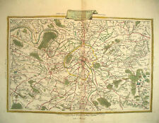 1776 Genuine Antique Hand Colored Map Paris, France. Antonio Zatta
