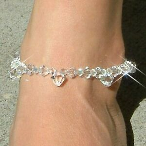 Big Drop made with Swarovski Crystal Beach Bridal Sterling Silver ANKLET Jewelry