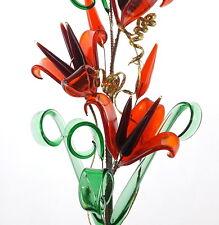 Verre cristal rouge fleurs avec vase belle décoration romantique pour salon