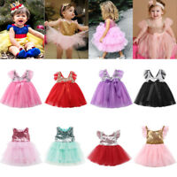 Toddler Kids Baby Girls Sequins Tulle Party Pageant Bridesmaid Dress Sundress