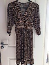 Women's Dress Geometric Kimono Sleeves Clothes, One Size, Black Beige
