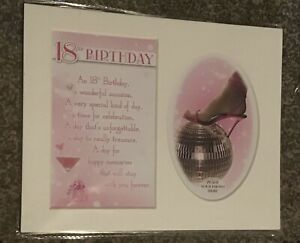 18th Birthday Pink  Keepsake Photo Mount With Verse. Size 8 X 10 Inches