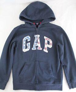 GAP Kid Zip Hooded Sweatshirt Hoodie X-Large 12 Red White Blue Logo