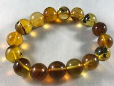 DOMINICAN AMBER CLEAR BRACELET GREEN BLUE MIX UNIQUE STONE GEM 20.7g 12-14mm