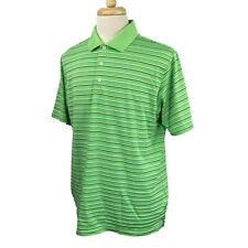 Adidas Golf Men's Climalite Short Sleeve Polyester Gree Stripe Polo Shirt Large