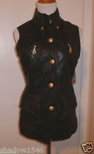NWT ANDREW MARC Black Leather Motorcycle Vest Size Small Petite