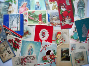 Lot of  30+ damaged Vintage 30's 40's 50's 60's Christmas cards *AA