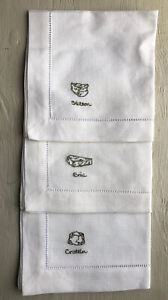 Set of 3 Cream Williams Sonoma Embroidered CHEESE Napkins NWT Ivory Brie 12x12