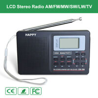 Mini Digital Stereo Radio LW SW TV FM AM Music Receiver Antenna Lamp Alarm Clock