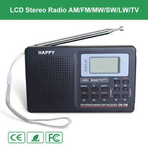 Mini Digital Stereo Radio LW SW TV FM AM Music Receiver Antenna Lamp Alarm Clock