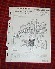 Sunbeam Rapière Série 1 1955/56 Stromberg DIF-36 du carburateur pièces détachées liste.