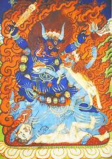 """13"""" High Quality Wood Scroll Tibet Thangka Buddism Protector Hell& Rebirth- Yama"""