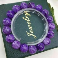 Natural Purple Charoite Gemstone Round Beads Women Men Bracelet 12mm AAAAA