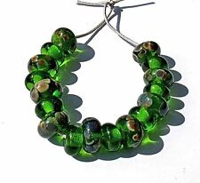 "HANDMADE LAMP WORK GLASS BEADS, ""GREEN MULTI"" TRANSPARENT"