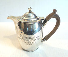 NICE  ANTIQUE SILVER PLATE COFFEE POT, ENGRAVED EQUESTRIAN PRESENTATION