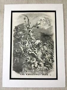 1856 Victorian Christmas Tree Social History Art Original Antique Print