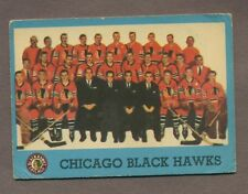 1962-63 Topps Hockey No. 44 Hawks Team Card Vg