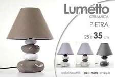 LAMPADA LUMETTO ABAT JOUR IN CERAMICA CON BASE FORMA PIETRA 25*35 CM ORY-704970