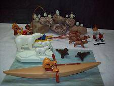 Playmobil Eskimo-Set: 3466-/-3248-A/1985 Eskimos/Hundeschlitten/Kajak/Eisbären!