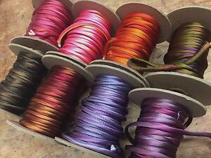 """Hand Dyed Silk Satin 1/8"""" Cord Tubing Piping on the Bias 1yd Made in USA"""