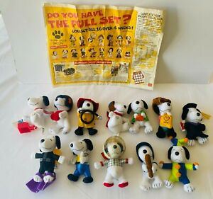 SNOOPY McDonalds 12 Plush Happy Meal Toys 2001 Peanuts Promotional FREE POST A2