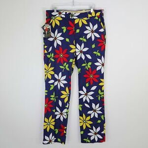 Loudmouth Golf Pants Mens W36 L34 Floral Blue Red Yellow White She loves me not