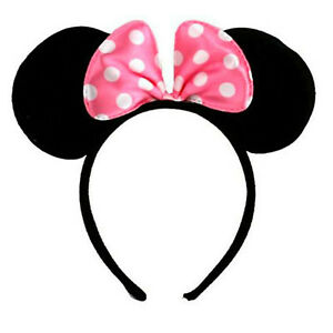 Minnie Mouse Ears Headband Velvet Ears with Pink Bow Fancy Dress Hen Night