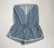 NWT Hollister Womens Strapless Chambray Romper Size Large