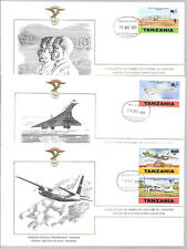 TANZANIA; HISTORY OF AVIATION, SCOTT No. 117-120 (3 FIRST DAY COVERS)