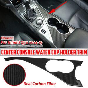 Interior Water Cup Holder Carbon Fiber Panel Trim Cover For Infiniti Q50 2014-19