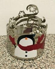 Bath & Body Works Snowman Snowflakes 3 Wick Candle Holder Sleeve
