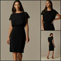Wallis Pencil Dress Size 14   Black Fitted Tiered Style   BNWT   £75 RRP   New!