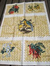Vtg Linen Tea Towel New Zealand Birds Flowers Maylin Kingfisher Kakabeak Rata