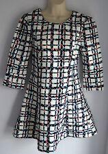 Polyester Checked 3/4 Sleeve Skater Dresses for Women
