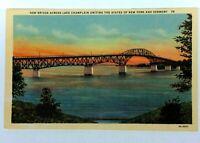 New York Lake Champlain Bridge To Vermont Linen Vintage Postcard
