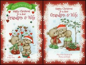 'GRANDSON & WIFE' CHRISTMAS GREETING CARD - MULTIPLE DESIGN'S - FREE P&P