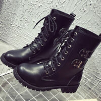 LADIES WOMENS COMBAT ARMY MILITARY BIKER FLAT LACE UP WORKER ANKLE BOOTS NEW