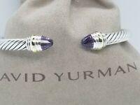 David Yurman Sterling Silver 5mm Cable Bracelet w/Amethyst Stone& 14K gold sz M