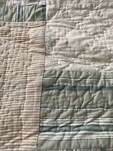 Nautica cotton Queen cottage core patchwork quilt ivory green shabby chi stripe