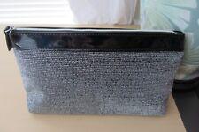 Lancome Black Silver Lurex Metallic Cosmetic Bag